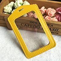 ID Card Holder 5Pc PU Card Case Holder Candy color Portable String Fashion ID Bus Identity Badge With Lanyard Porte Carte Credit Yellow