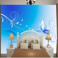Xbwy アートブルーバタフライダンス花自然写真プリントエンボス壁紙3 D部屋-400X280Cm