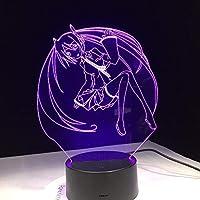 Dtcrzj Aiアニメセーラームーン漫画美容3D Ledランプ7色変更ナイトライトクールガール寝室の装飾ギフト