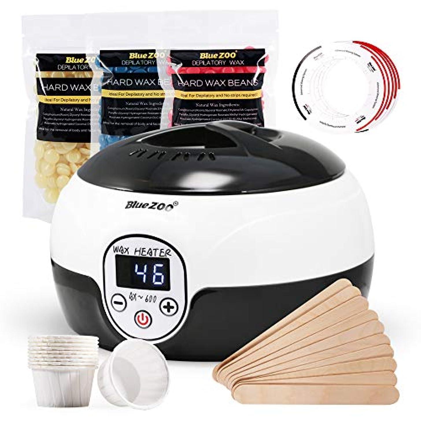 冊子餌貸し手BlueZOO Home Waxing Kit Wax Warmer for Body Face Bikini Area Legs Hair Removal with 3 Packs of Hard Wax Beans...