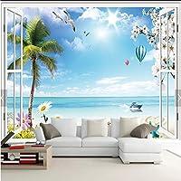 Mingld カスタム壁画壁紙3Dフレンチウィンドウロマンチックビーチ熱気球写真の壁紙用リビングルーム壁紙家の装飾-150X120Cm