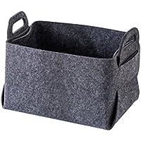 収納仕上げバスケットボックスバッグフェルト布雑貨玩具貯金ブラックグレー (色 : 黒, サイズ さいず : A)