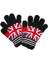 ボーイズ|キッズ|スキーウェア[Fashionable goods BOYS]ニット手袋|国旗|ユニオンジャック柄|あったか二重5本指手袋|ニット|男の子 Fcm