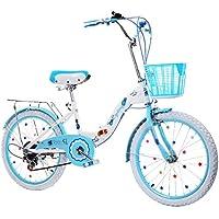 Duwen子供の自転車子供の自転車Folding速度16 /18 /20 /22インチGirl 6 – 12-year-old児童、女の子、プリンセス、レディ、blue-white Foldingホイール