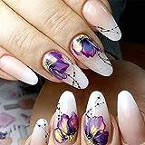 10ピースネイルステッカー蝶花水転送デカールスライダー用ネイルアート装飾タトゥーマニキュアラップツールヒント