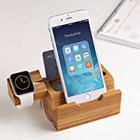 Threecat® 携帯スタンド 充電器 3ポート iPhone、 iWatch、iPad対応  竹製 充電ホルダー 卓上ホルダー 一台多機能 タブレット対応 急速充電器 充電ステーション