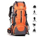 Meily 登山用リュック ナップザック スポーツバッグ 50L 防水 軽量 登山 ハイキング トレッキング キャンプ レインカバー付き (オレンジ)