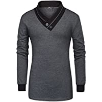 PAUL JONES Men's Contrast Color T-Shirts Fashion Long Sleeve V-Neck Slim Fit Tops Tee