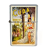Wind Proof Dual Torch Refillable Lighter Vintage Poster D-204 Cuba Holiday Isle of the Tropics by Perfection In Style