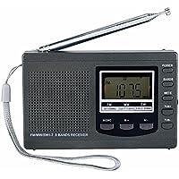 ZHIWHIS Portable Radio DSP Emergency Mini Stereo FM Broadcasting Player FM/MW/SW 9 Bands Receiver Full range digital stereo radio (グレー)