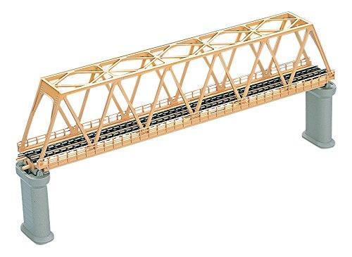Nゲージストラクチャー 単線トラス形鉄橋 (F) クリーム (PC橋脚・2本付) 3032