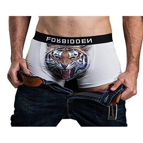 (ビグッド)Bigood メンズ ボクサーパンツ アニマル柄 ボクサーブリーフ 下着 アンダーウェア カジュアル 男性用 肌着パンツ インナーウェア(虎L)