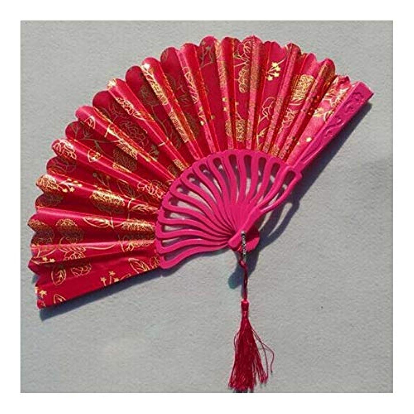 緩む子孫プロトタイプQIANZICAI ファン、アンティークレディ扇子、ホームアクセサリー、ダンスの小道具、マスカレード折りたたみ。 ファン (Color : Red)