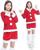 小顔フード + 美脚 ショートパンツの クリスマス サンタ レディース コスプレ 衣装 a380
