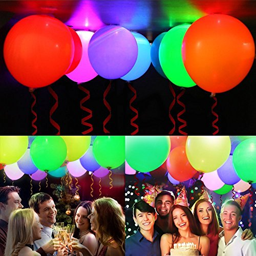 AGPTEK 光る風船 バルーン LED内蔵 幻想風船 お祭り/イベント/パーティー/誕生日/結婚式/ライブ/記念日 花火大会/ハロウィン/クリスマス/バレンタインに大活躍! リボン付き 40個入り