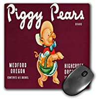 3drose LLC 8x 8x 0.25インチマウスパッド、Piggy PearsブランドHighcroft果樹園キュートPick with a basket of Pears–(MP 171141_ 1)