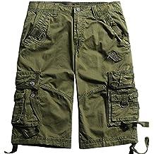 chouyatou Men's Casual Outdoor Multi-Pocket Loose Chino Cargo Shorts
