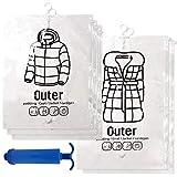 【Dizzy】 衣類 圧縮袋 6枚セット 吊るせる 収納 日本語説明書付き ポンプ付 圧縮 袋