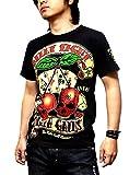 Clack Tシャツ スカル バイカー ロックテイスト プリント カットソー トップス 半袖 メンズ ブラック L