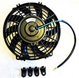 (mind items) 9インチ 汎用 電動ファン 薄型 プッシュ式 吹風式 12V 自動車用