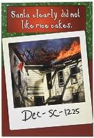 サンタHates Rice Cakesクリスマスユーモア用紙カード 1 Christmas Card & Envelope (SKU:1422)