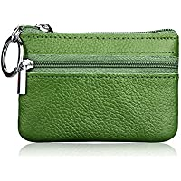 Hibate Mini Coin Purse Holder Wallet Leather Purses for Women Men Kids Zipper Pouch with Key Ring