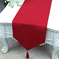 テーブルランナー LXF モダンリネン素材 シンプルなダイニングテーブル リビングルーム キッチン タッセル ハンギングスパイクデザイン 無地 33 * 300cm