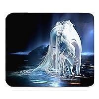 美しい動物クールな素晴らしい白い馬ファンタジーペイントデザインアート最高のギフトユニークなカスタム長方形のマウスパッド