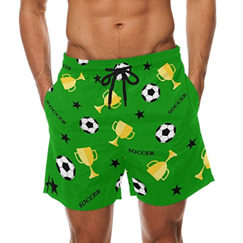 VAWA 水着 メンズ サーフパンツ おしゃれ ビーチパンツ 海水パンツ 短パン 吸汗速乾 大きいサイズ 水陸両用 ワールドカップ フットボール サッカー 蹴球柄