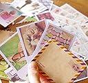 箱&鍵チャーム&おしゃれな 封筒 & 切手風シール付 ポラロイド風 ミニメッセージカード64枚セット/名刺サイズ/可愛い切手風シール64枚 しおり セット