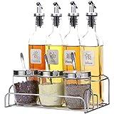 Zhiyangmaoyi 家庭用 ガラス オイルボトル 調味料ボトル スパイスジャー スパイスラック 付き貯蔵用油 醤油 酢 塩 コショウ 砂糖 8個セット