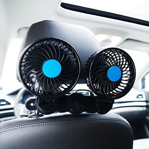 SILIVN 車内 車載扇風機 双頭車載ファン DC12V 4インチ ブラック シガー 角度調節 3...
