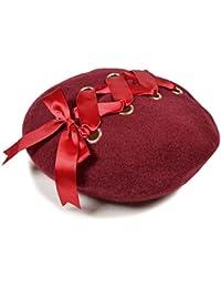 レースアップ ベレー帽 編み上げ サテン りぼん 帽子