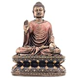 釈迦 仏陀 ブッダ 仏教 置物 ブロンズ風 フィギュア【保証書・日本語説明書付】