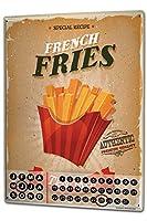 カレンダー Perpetual Calendar Kitchen French fries Tin Metal Magnetic