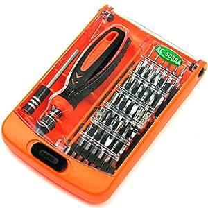 AC6088 オレンジ 38in1 特殊 ドライバーセット トルクス(穴あき/穴なし) ソケットビット ヘクスローブ 六角棒 Y型 三角ネジ 五角 ペンタローブ プラス マイナス SQ PZ ハッピーセット iphone 6 アイフォン コンパクト