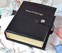 Umora ピアス収納書 ピアスブック アクセサリーポーチ 手帳式 ジュエリーケース ピアスコレクション ブラック