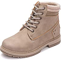 Athlefit Women's Lace up Ankle Boots Work Waterproof Low Heel Combat Booties