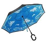 PLEMO 長傘 逆さ傘 逆折り式傘 手離れC型手元 耐風傘 撥水加工 ビジネス用車用 晴天の空 爽やか 124センチ