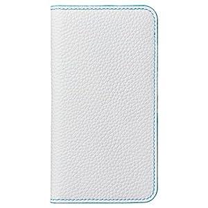 HAKUBA iPhone8 / iPhone7 ケース (4.7インチ) 手帳型 fineseed 熟練の財布職人仕立て 高級牛革製 ホワイト/ターコイズ PC-LCIP7WTQ