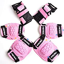 WinLine キッズプロテクター 膝 肘 手首 スポーツプロテクター 保護パッド 6点セット 3色 (ピンク)