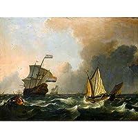 Painting Seascape Maritime Bakhuizen Shipping Rough Waters Art Print Poster Wall Decor 12X16 Inch ペインティングシースケープ海上船水ポスター壁デコ