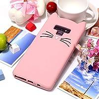 UzdcG サムスンギャラクシーノート9ケース、サムスンギャラクシーノート9のための猫のひげパターンシリコン保護ケース (色 : ピンク)