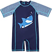 ATTRACO Baby Boys Girls' Short Sleeve Rash Guard Swimsuit Sunsuit 1 Piece UPF 50