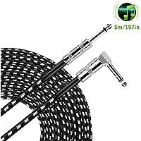 OTraki ベース シールド 5M L字型 - ストレート 音質 耐久性 両立 シールドケーブル S - L プラグ 歪みサウンド 直径7.5φ 極太 Guitar Cable 楽器 接続 ブラック ホワイト 生地編み
