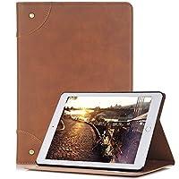 iPad Air 2 レトロ スタイル ケース、ElecfanJ フィット スリム 保護カバー スタンド機能つき マグネット式 アイパット エア 2用 ケース ブックデザイン ビジネス用カバー