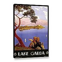 "ArtWall 1tre001a3248W Severino Trematore 's ""ヴィンテージのポスター湖Garda Italy ""ギャラリーWrappedキャンバス 16X24 1tre001a1624w"