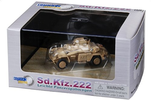 1:72 ドラゴンモデルズ アーマー コレクター シリーズ 60498 Auto Union Sd.Kfz.222 装甲車spahwagen ディスプレイ モデル ドイツ軍 DAK North Afr