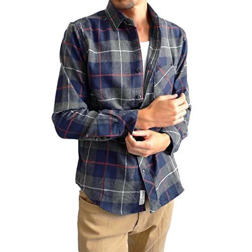 (ハイクオリティプロダクト)High quality product ネルシャツ チェックシャツ メンズ 長袖シャツ アメカジ ネル チェック シャツ メンズ 起毛 ネルシャツ  M 10/ネイビー