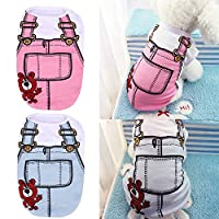 Westsell サマー ペット 犬 服 子犬 猫 ベスト シャツ フェイク ストラップ 犬 コート 可愛い コットン ベスト S M 犬 アパレル XS から XL